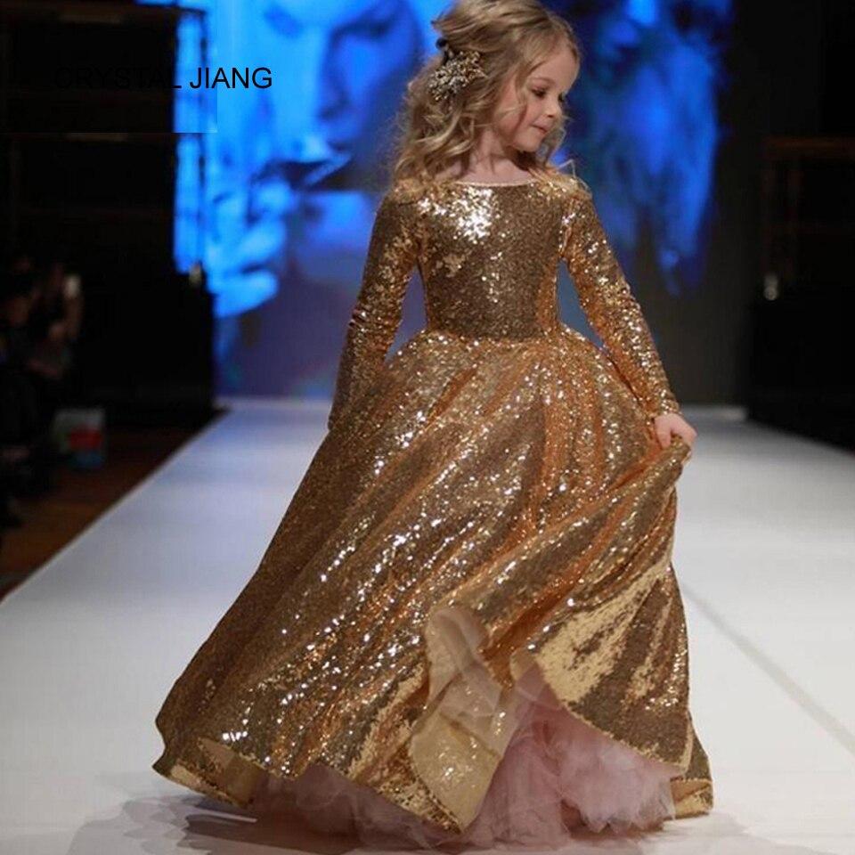 CRYSTAL JIANG 2018 Noul design barca de aur Lace de aur cu maneci - Rochii de seară de nuntă - Fotografie 6