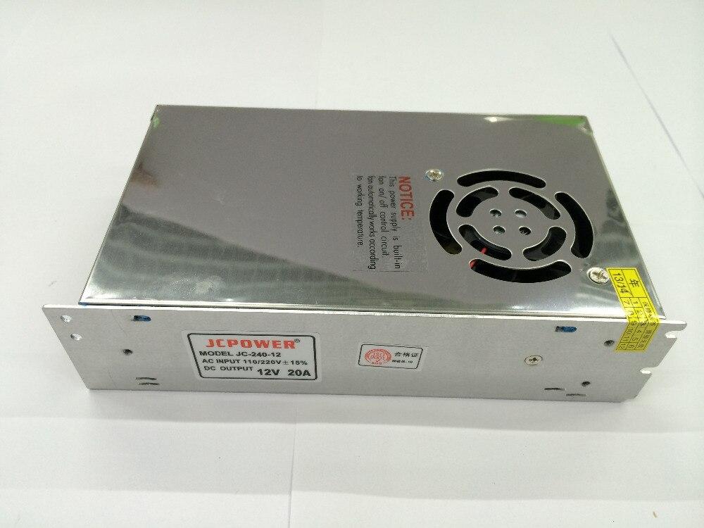 DC 12 V 20A 240 W avec ventilateur pour ws2811 5050 3014 2835 5630 6803 3528 led bande alimentation à découpage AC 110-240 V