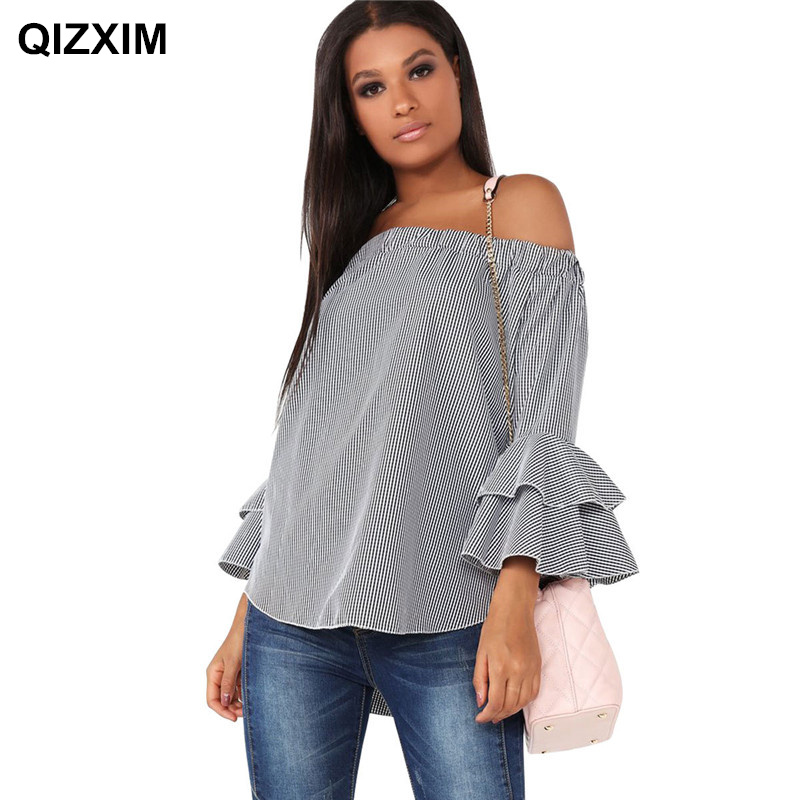 QIZXIM Women New Fashion Stripe plaid Double flare Sleeve t-shirt spring summer Casual off Shouler strapless Tops Girl top tees