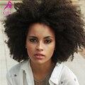 Brasileira Afro Crespo Encaracolado Cheia Do Laço Perucas de Cabelo Humano Para Preto mulheres 7A Kinky Curly Parte Dianteira Do Laço Do Cabelo Humano Perucas Cheias Do Laço perucas