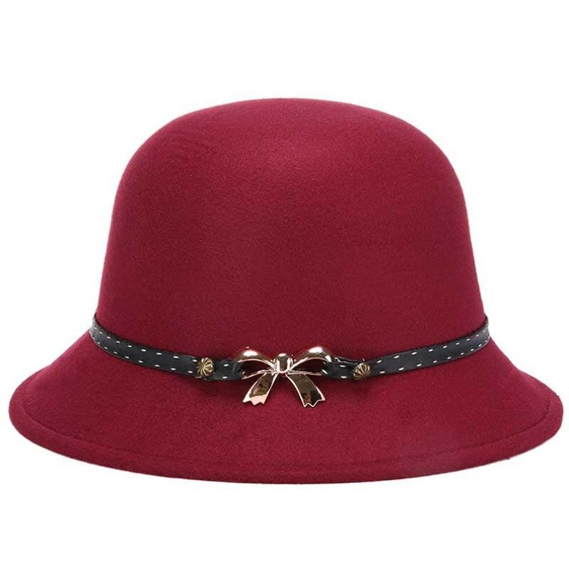2017 nouveau arc logo Feutrés Chapeau pour Femme De Laine chapeu fedora feminino Hiver Chaud Feuilles Chapeaux Casquettes 56-58 cm