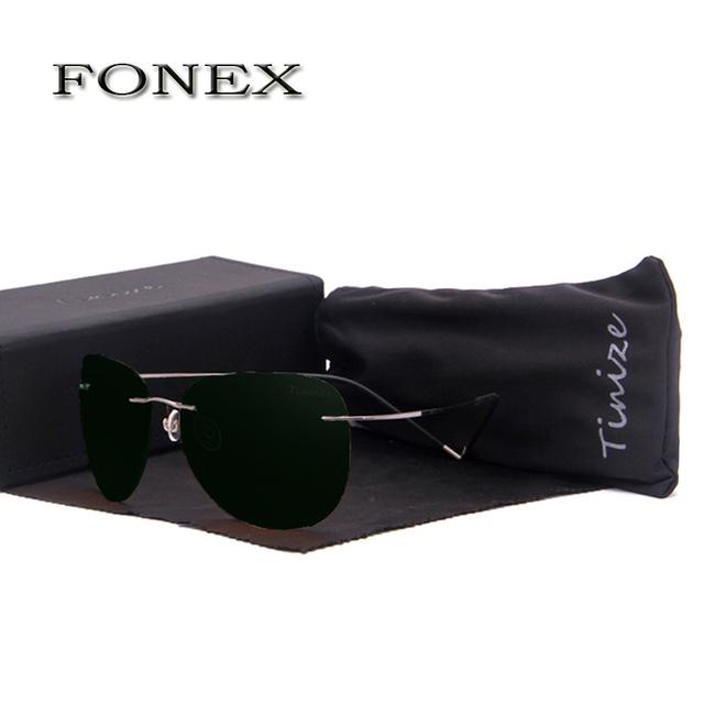 FONEX Nova Moda Polarized Óculos De Sol Óculos De Sol Das Mulheres Dos Homens De Titânio Sem Aro Urltra Luz Condução Óculos Piloto peso 12g 72126