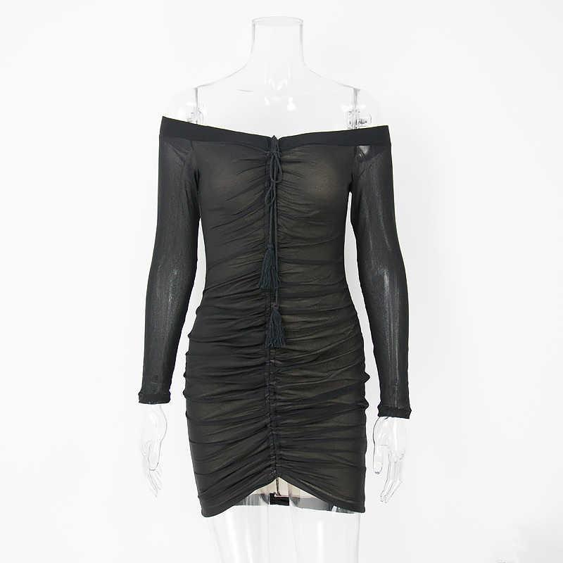 Женское сетчатое платье NewAsia Garden, летнее облегающее платье с открытыми плечами, привлекательное клубное праздничное платье, платья-мини с оборками и длинным рукавом