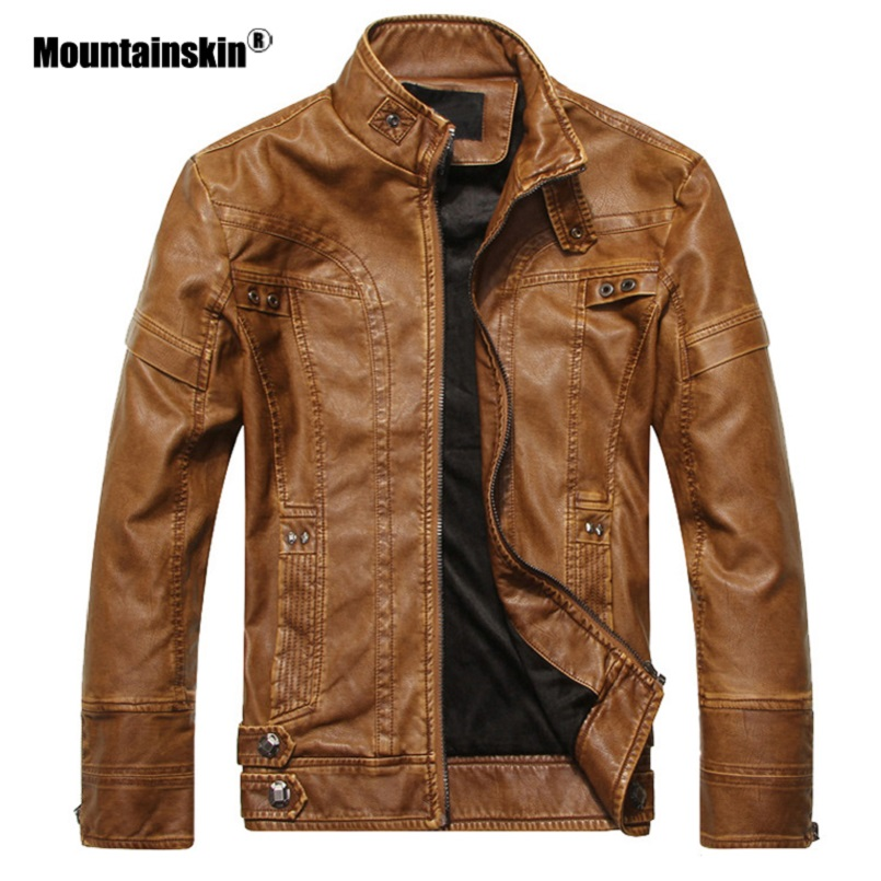 Mountainskin Men's Leather Jackets Motorcycle PU Jacket Male Autumn Casual Leather Coats Slim Fit Mens Brand Clothing SA588 2