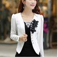 2016 Hot Sale Women'S Rivet Balzer Long Sleeve Lady'S Shrug Suits Slim Coat Jackets Cool Jacket Black White Free Shipping