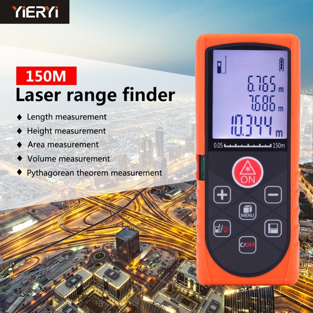 YIERYI 150m Laser distance meter Digital Laser Rangefinder Handheld Diastimeter Measuring Device ruler test tool free shipping kapro 810 clamp device laser infrared horizontal marking ruler