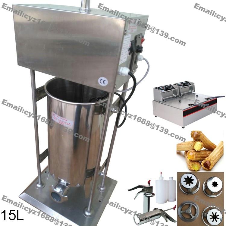 220V Auto Electric 15L Spanish Doughnuts Churro Maker Machine with Filler Pro