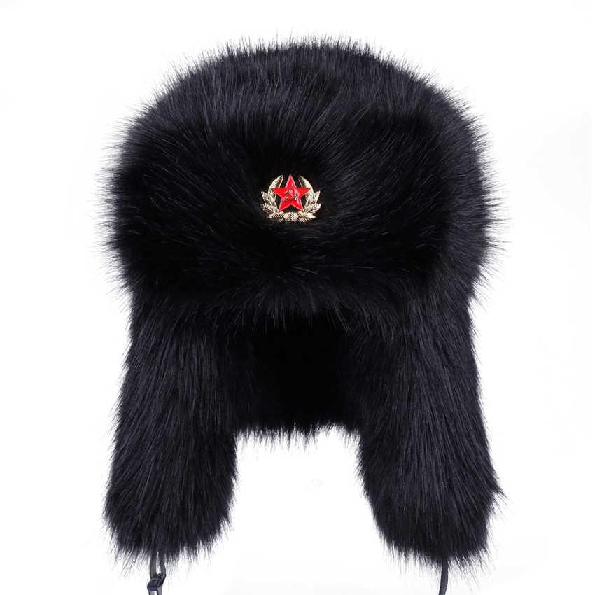 daf2f4cf782 Soviet Badge Ushanka Men Women Faux Fox Fur Winter Snow Cap Vintage Russian  Army Military Bomber