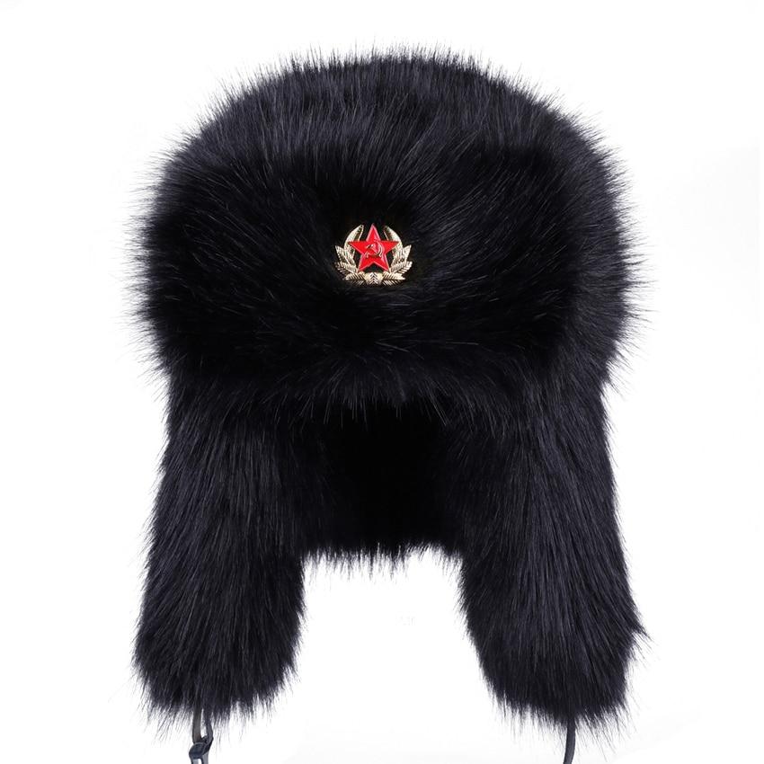 Soviet Badge Ushanka Men Women Faux Fox Fur Winter Snow Cap Vintage Russian Army  Military Bomber Hats Earflap Aviator Trapper -in Bomber Hats from Apparel  ... 98e4e6df8655