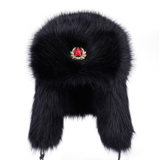 4c62e9c6f99 Soviet Badge Ushanka Men Women Faux Fox Fur Winter Snow Cap Vintage Russian  Army Military Bomber Hats Earflap Aviator Trapper