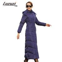 Winter Jacket Women Warm Solid Slim Hooded Parka Female Plus Long Over Knee Down Padded Ladies Elegant Coats WS1797