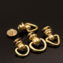 10Pcs Brass Ball Post Studs Rivet with D ring Screwback Round Head Nail Spots Swivel 360 Rotate Spikes Leather Craft DIY