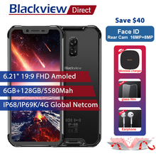 "Blackview BV9600 Pro IP68 Waterproof Mobile Phone 6G+128GB Helio P60 6.21"" 19:9 AMOLED 5580mAh NFC Android 8.1 Rugged Smartphone(China)"