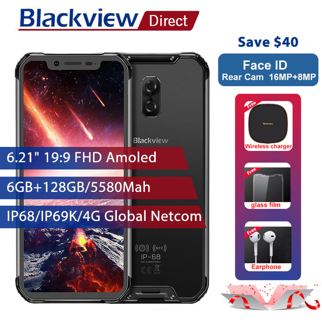 """Blackview BV9600 Pro IP68 Waterproof Mobile Phone 6G+128GB Helio P60 6.21"""" 19:9 AMOLED 5580mAh NFC Android 8.1 Rugged Smartphone"""