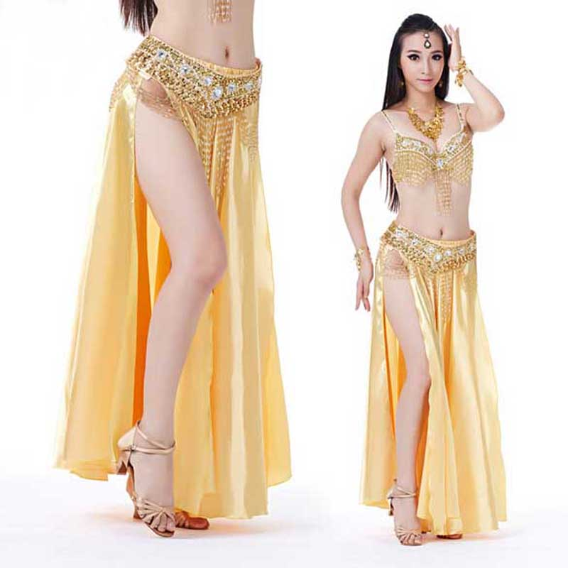 DJGRSTER 2019 New Belly Dance Costumes Sexy Senior Satin Split Belly Dance Big Skirt For Women Belly Dancing Skirts 14 Colors