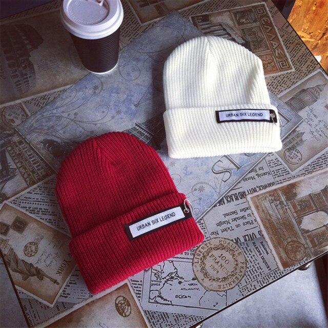 נשים חורף סרוג כובע CC בימס יוניסקס מזדמן כובעים & כובעי גברים מוצק היפ הופ Skullies כפה חם מצנפת אופנה נשי