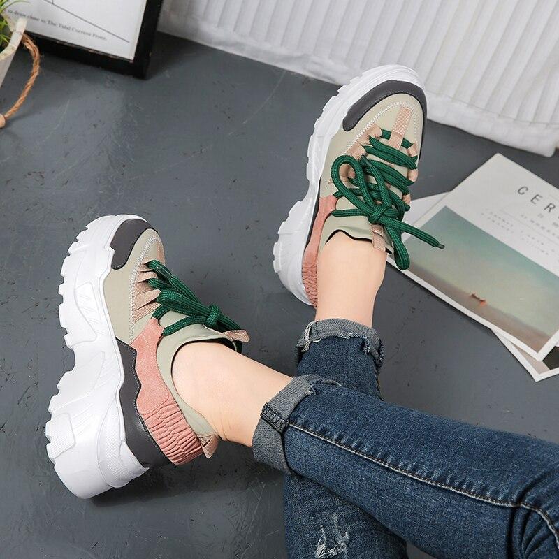 Beige Plate Nouveau Pour 40 Sauvage Size35 Sneakers Sport 2018 De forme Femme Printemps noir Loisirs Femelle Confortable Femmes Talons Chaussures UISqdz