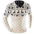 Camisola Homens 2017 Marca Cervos Impressão Pullovers Casuais Camisola Masculina Com Decote Em V Slim Fit Knitting Camisolas Dos Homens Homem Homens Pullover XXL