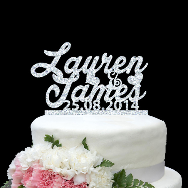 Personalize names date wedding cake topper couple love heart gold personalize names date wedding cake topper couple love heart gold silver wedding decoration custom wedding dessert junglespirit Images