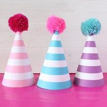 12 штук счастливые шляпы для вечеринки по случаю Дня рождения в полоску DIY милые шапочки ручной работы Корона душ детские украшения подарки для мальчиков девочек вечерние принадлежности