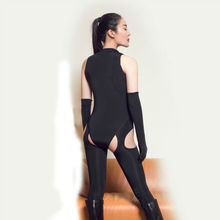 Lingerie Bodysuit Open Crotch with Long Gloves and Socks Fiber Catsuit