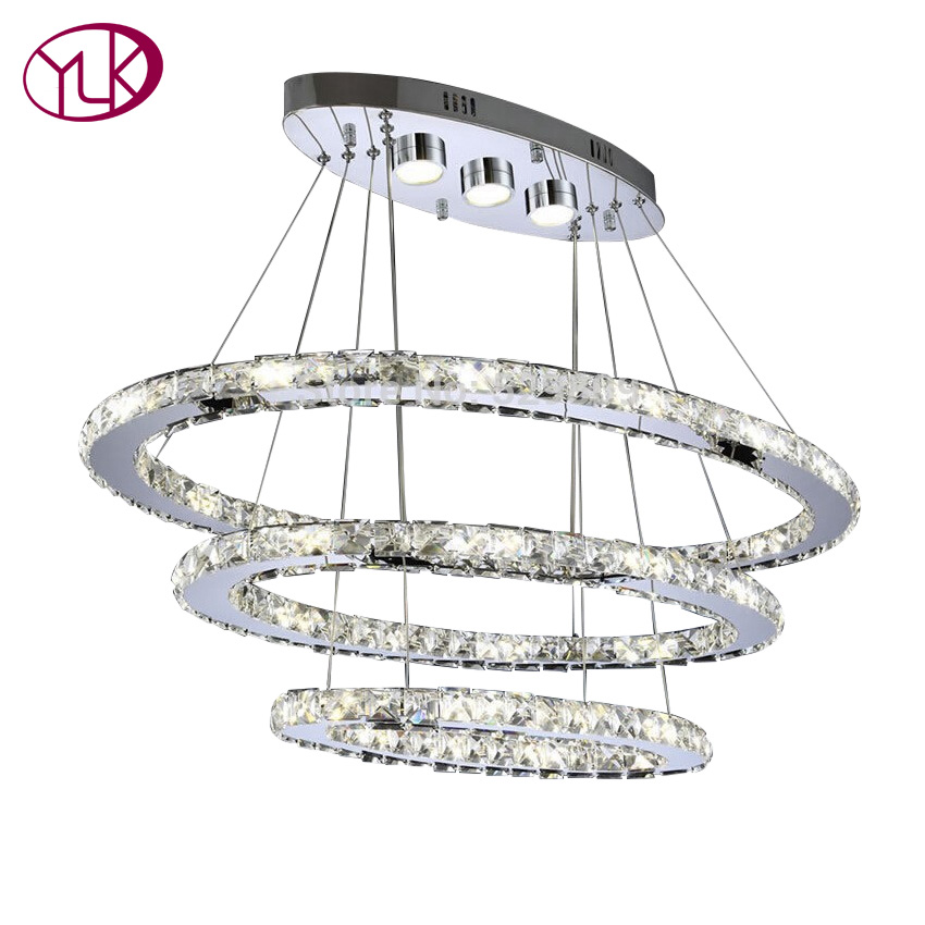 Youlaike Luxury Modern LED Chandelier Lighting Three Rings Hanging Crystal Light AC110-240V Living Room Lustres De Cristal new modern chandelier led crystal lamps long pendant chandelier lustres de cristal kronleuchter ac110 240v stair chandelier