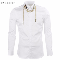 2015 New Arrival Mens Black White Dress Shirts Autumn Fashion Men Slim Long Sleeve Cotton Shirt