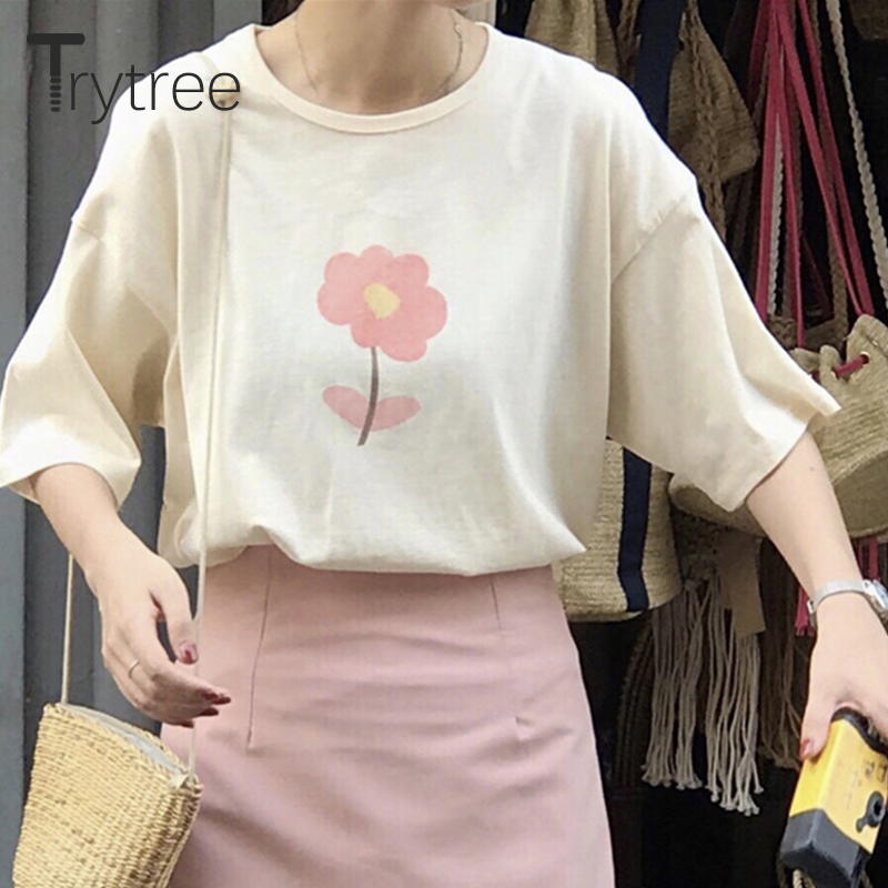 Trytree 2019 Summer Casual Women T-Shirt Female Top O-Neck Cotton Polyester Printing Flower All-Purpose Style Women tshirt