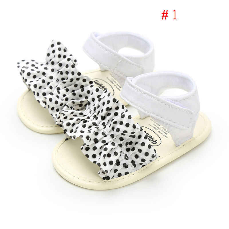 2019 Princess Toddler Baby Girl Ruffles Bowknot Sandals Summer Beach Soft Flat Sole Shoes PU Leather Baby Girl Sandals 0-18M