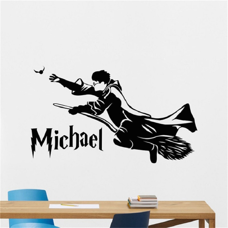 57*97cm Harry Potter Movie Posters Magic Broom Carved Wall Stickers For Boys Room Bedroom Parlor Decor Decal With Transfer Film
