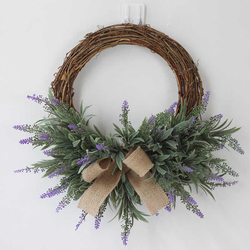 1 Pcs Buatan Bunga Wreath Dekorasi Lavender Buatan Garland Bunga Ornamen Pintu Karangan Bunga Dekorasi Garland Wreath