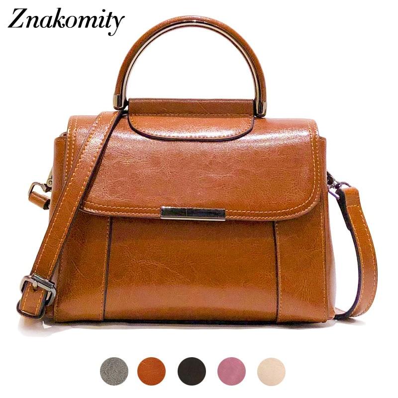 Znakomity Retro shoulder bag female genuine leather handbag women s Vintage leather crossbody bag Brown messenger