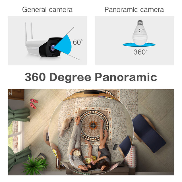 1080P 360 Degree Wireless IP Camera Fisheye Panoramic Surveillance Security Camera Wifi Night vision Bulb Lamp CCTV Camera P2P  2