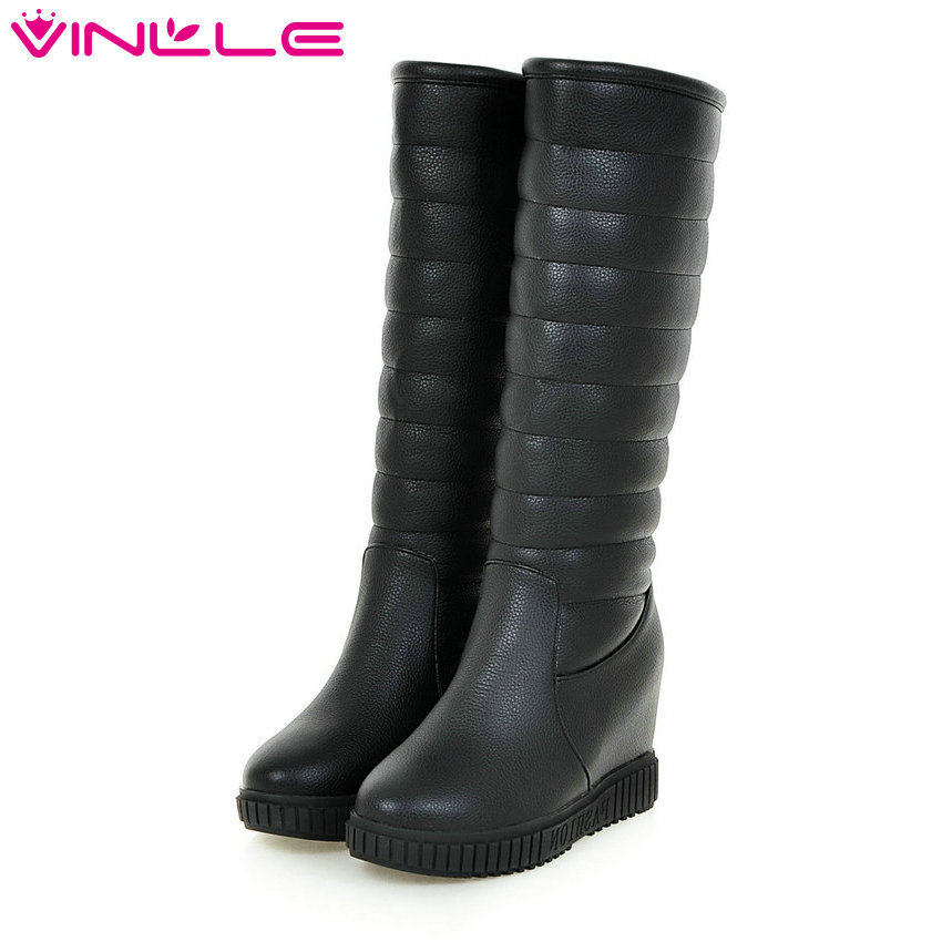 VINLLE 2016 Winter Warm Fur Women Shoes PU Wedges Med Heel Mid Calf Boot Slip on White Women Platform Snow Boots Size 34-43