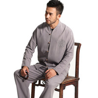 High Quality Gray Chinese Men's Cotton Kung Fu Suit Solid Color Wu Shu Sets Shirt&Pant Uniform S M L XL XXL XXXL