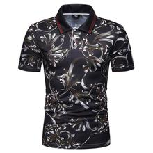 купить Men Polo Shirt Beach Leisure Floral print Polo Shirt Men Short sleeve Summer Tops Hawaii Tees Men's Clothing New дешево