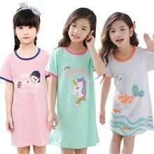 Летняя хлопковая ночная рубашка с единорогом для девочек; Модная одежда для сна; детская одежда для сна; платье для сна; детские пижамы