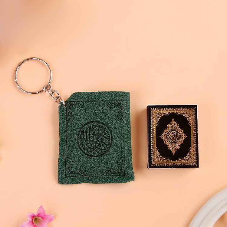 ミニアラビアコーランイスラムアッラーリアル紙読むことができますペンダントキーリングファッション宗教ジュエリーキーリング男性のため