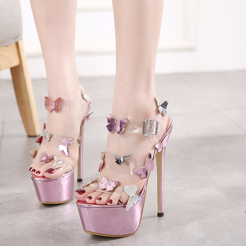 26a85711a569 2017 Women Sandals High Heels Sexy Transparent Platform Girls Shoes Thin  Heels Pole Dancing Shoes Nightclub Party Butterfly PVC-in Women s Sandals  from ...