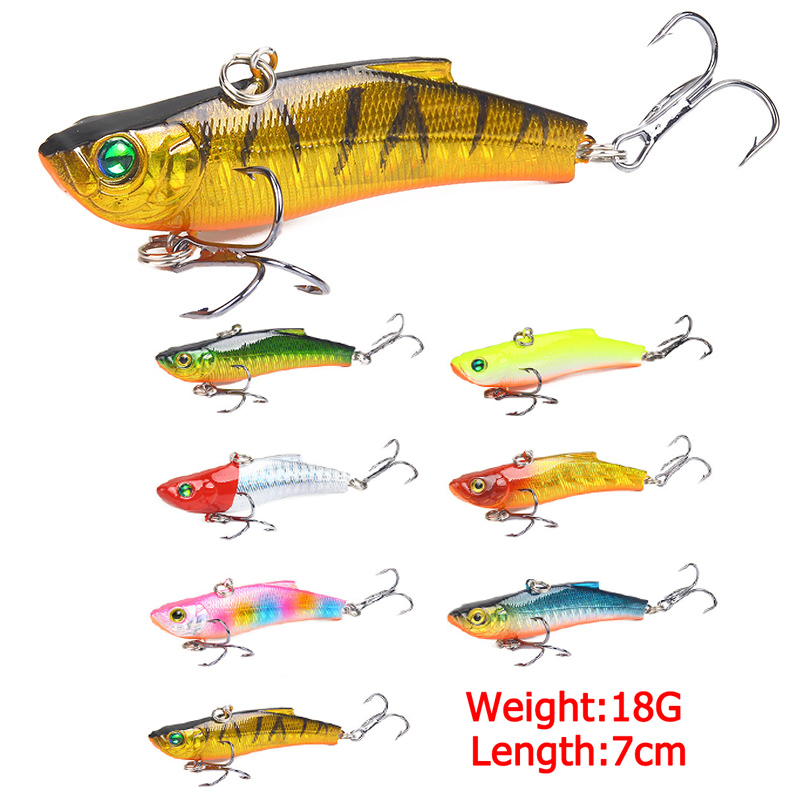 7 color Sinking VIB Artificial Lure 70mm 18g Plastics Fishing 3D Eyes Outdoor Tail Wobblers Lake Multicolor Hard Bait