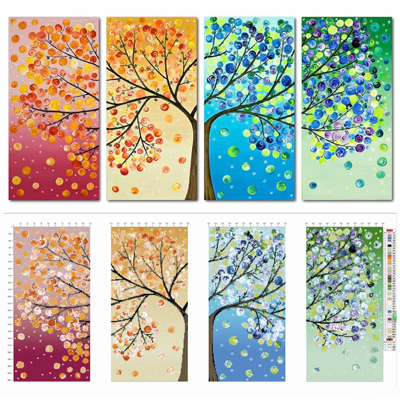 Fashion Colorful Tree Embroidery Needlework DIY Counted Cross Stitch Kit DIY Handmade Needlework Home Room Decoration 103*57cmFashion Colorful Tree Embroidery Needlework DIY Counted Cross Stitch Kit DIY Handmade Needlework Home Room Decoration 103*57cm