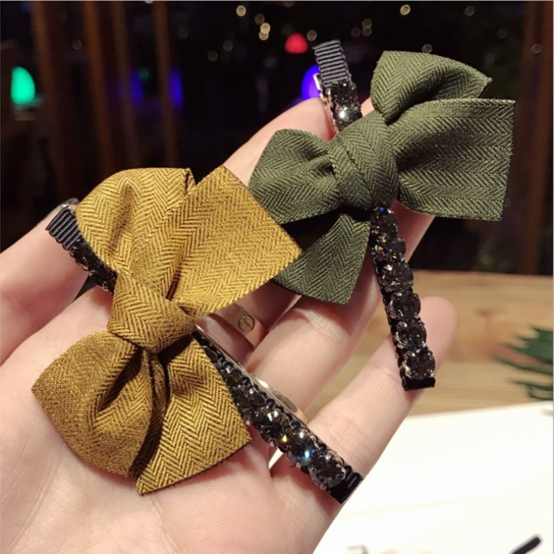 New High-end Boutique Hair Accessories Women's Simple Temperament Bow With Diamond Duckbill Clip Bangs Clip Wild Hairpin Hairpin