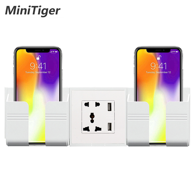 Minitiger Manufacturer Wall USB Socket Universal 5 Hole Socket Power Outlet With Double USB Smart Home Plastic Panel