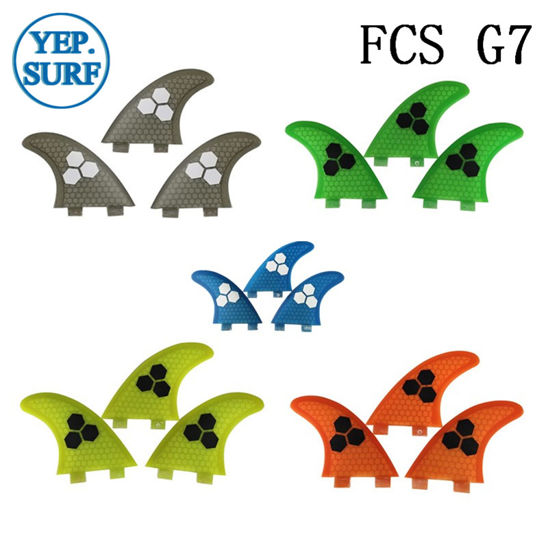 Surf Fins FCS G7 Fin Honeycomb Surfboard Fin 5 color surfing fin Quilhas thruster surf accessories-in Surfing from Sports & Entertainment