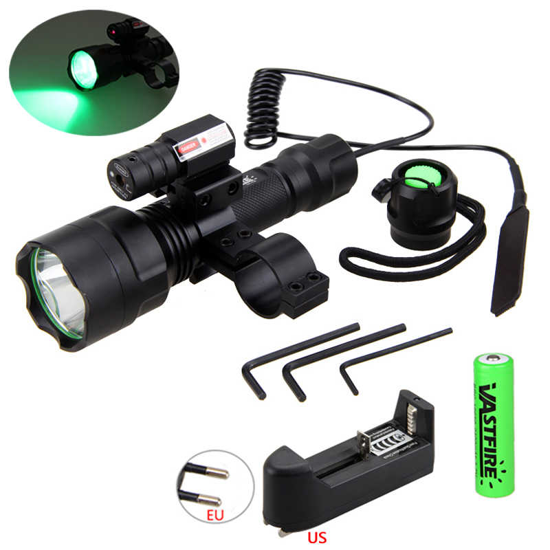 Senapan Berburu Airsoft Gun Lampu LED Senter Taktis + Laser Dot Sight Scope + Pressure Switch + 20 Mm Rail barel Mount + 18650