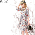 Artka Women's Autumn New Fashion O-Neck Full Sleeve Printed Patchwork Comfy Chiffon Dress LA10867Q