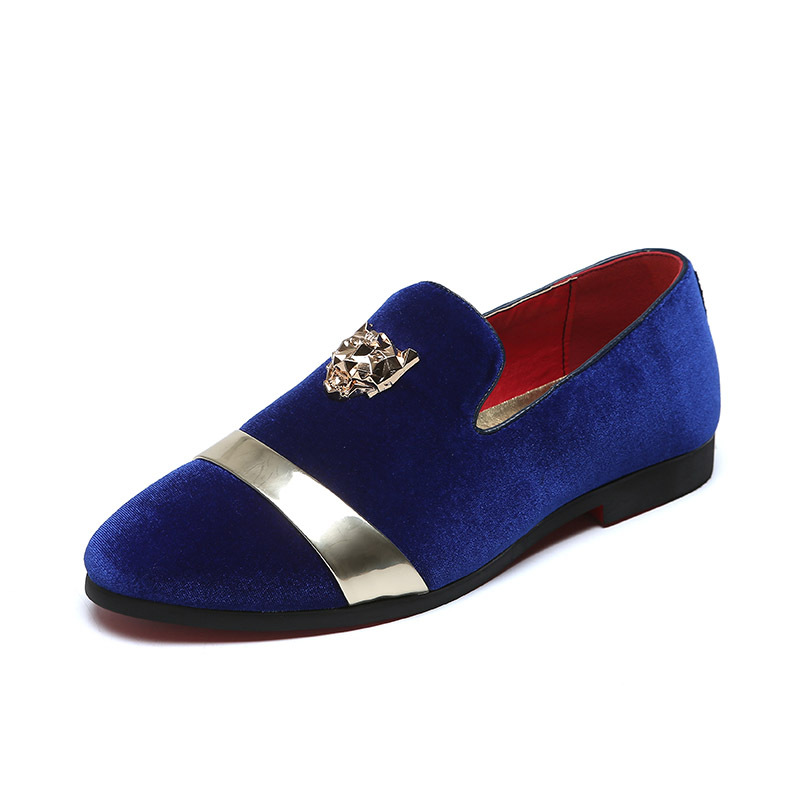 Et Mocassins Automne De Fotr bleu Noir Confortable Homme Toe Haut Mode En Métal Sur Slip Casual Printemps Chaussures Or Hommes Velours xaxfwY7q
