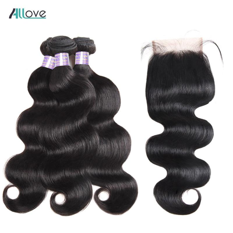Allove Human Hair Bundles With Closure 4pcs Lot Brazilian Body Wave Bundles With Closure Free Part 4x4 Non Remy Hair Bundles