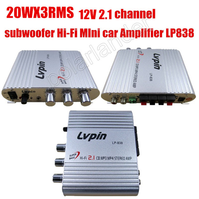 Best Price Free Shipping 2.1 Channel output power amplifier car audio Stereo Mini Amplifier 20WX3 RMS CD MP3 MP4 super bass