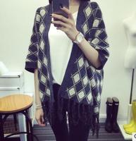 2015 Autumn Brand New Fashion Tassel Checked Geometry Fringed Hem Batwing Sleeve Kimono Cardigan Sweater Women